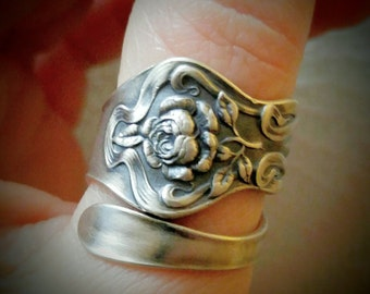 Tea Rose Ring, June Flower, Sterling Silver Spoon Ring, Antique Watson Flower of the Month 1900, Floral Ring, Adjustable Ring Size (6225)