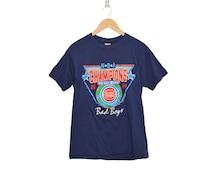 Vintage Detroit Pistons NBA Basketball '88 - '89 World Champs Navy Blue Super Soft Crewneck 50/50 Blend T-Shirt, Made in USA