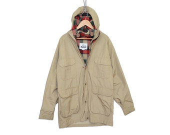 Vintage Woolrich Tan Jacket With Red & Green Plaid Wool-Lined 60/40 Hooded Parka, Made in USA