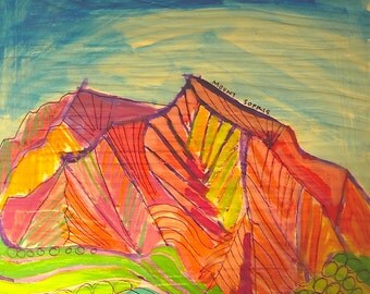 Mount Sopris, 10 x 10 original Colorado Mountains,  acrylic painting,  illustration, abstract landscape painting, plen air