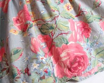Ralph Lauren GARDEN RAMBLER Twin Size Bed Skirt / Dust Ruffle ... Vintage Pink Cabbage Roses on Steel Blue / Blue-Gray ... HTF