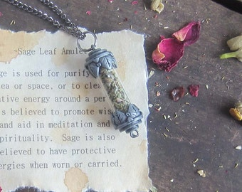 DRIED SAGE Wiccan amulet Necklace witchcraft herbs pagan jewelry wicca metaphysics magick occult new age witchcraft witch amulet