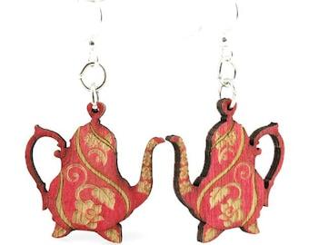 Tea Pot Wood Earrings
