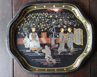 Vintage Chinese Asian themed small serving tin tray circa 1970-80's / English Shop