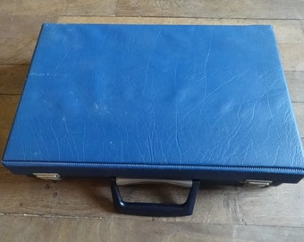 Vintage English Man-Made Materials Blue Cassette Case Carry Holdall Carrier Case circa 1970-80's / English Shop