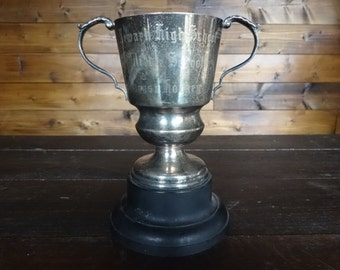 Vintage English EPNS Newark High School Hockey Trophy Cup Engraved Winners Award Prize Trophies Patina circa 1969 / English Shop