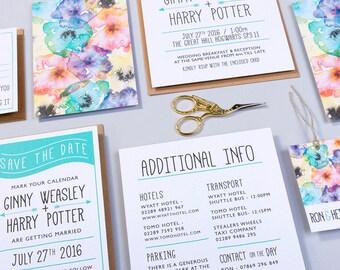 Wedding Invitation And RSVP: Petite Fleurs - Modern Boho Wedding Invite - Rustic Wedding Invitation - Personalised Wedding Stationery