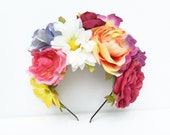 NEW! Wildflower Garden Flower Crown. Floral Headband, Floral Crown, Flower Headpiece, Frida Kahlo, Daisy Headband, Floral Crown, Bohemian