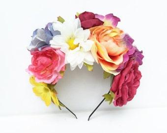 Frida Flower Crown, Floral Headband, Floral Crown, Flower Headpiece, Pink Flower Crown, Frida Kahlo, Daisy Headband, Floral Crown, Bohemian