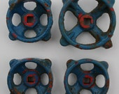 Vintage Valve-Faucet  Handles/ Hardware-Artsy-Shipping Special-Blue SuperPatina-4 Industrial Handles/Funky Mix recycled,revamp, Outsider Art