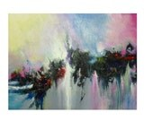 Abstract Acrylic Original Painting Pastel Colors, 22 x 28 - Skye Taylor