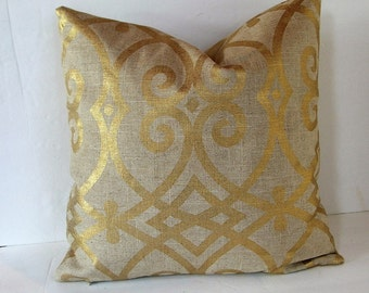 One (1) Beige and Metallic Gold Accent Linen Look Pillow Cover Made to Fit 18 inch Pillow