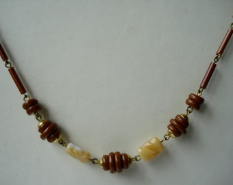 Art Deco Necklace Cream and Brown Glass  1920's 1930's