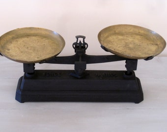Antique French Roberval Scales Cast Iron Scales 10kg Two Brass Plates