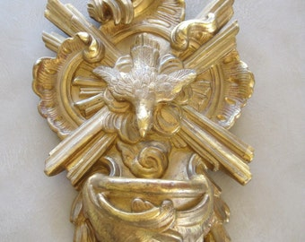 Carved Giltwood Holy Water Font Antique French Religious Art C1900 Featuring The Dove of Peace Original & Stunning 40 cms Tall