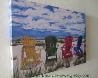 Beach Chairs Painting, Giclee Canvas Art, Wall Art Canvas, Beach Chairs Print, 20x30 Canvas Watercolor, Beach Painting, Beach Home Decor