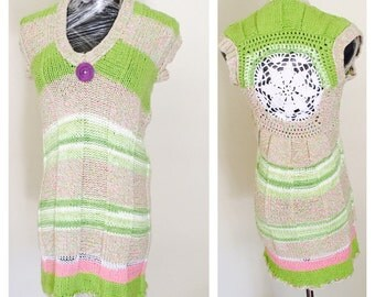 Multi Color Sweater/Dress, Cotton, Knit, Sleeveless Woman Fashion,Vintage Inspired, Hand Made in the USA, Item No. DeBg10