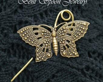 Golden Brass Butterfly Shawl Pin, Fibula, Scarf Pin, Shrug Pin, Kilt Pin, Bent Spoon Jewelry