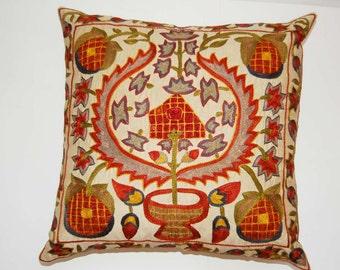 Beautiful  handmade super quality stitch mystical lakay flowers pattern Suzani Pillow Cover cushion  original silk  19.5 x 19.5 inch