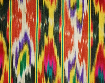 SALE Amazing Vintage colorful  Atlas Ikat,  Dress Decor fabric, 100% silk Original Uzbek handcrafted 3yard  8  ench