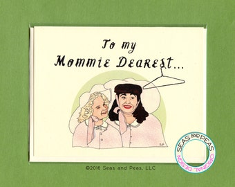 TO My MOMMIE DEAREST - Funny All Occasion Card - Mom Birthday Card - Joan Crawford - Mommie Dearest - Funny Mom Card - Hanger - Item M115