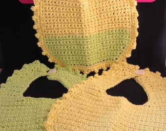 Set of Three Lime Green and Yellow Baby Crochet Bibs
