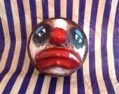 Clown Doll Head Face Scary Sad  Dark Circus Art wall Decor Creepy Freak Show Goth OOAK Hand Sculpted