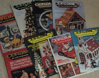 8 Vintage Ceramics Magazines, circa 1970's, The Worlds Most Fascinating Hobby with easy step by step projects