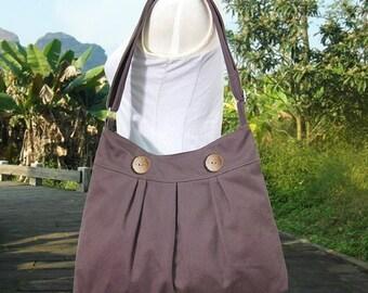 Holiday On Sale 10% off brown cotton canvas shoulder bag / travel bag / messenger bag / diaper bag / cross body bag, zipper closure