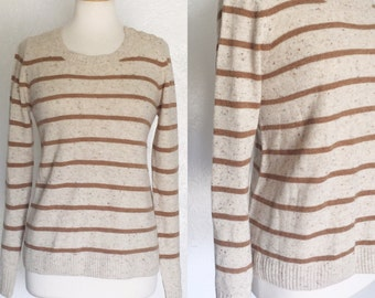Vintage taupe and brown striped confetti knotted sweater