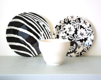 Mismatched Teaset Trio of Teacup, Saucer and Teaplate in Black and Cream