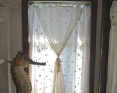 Nautical Shell Curtain, Starfish, Turquoise Beach Glass, Shell Tie Back, Double Layer Gauze