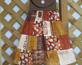 Coffee Hanging Kitchen Tea Towel, Coffee Cup, Brown Kitchen Decor, Kitchen Towels, Handmade Kitchen Towels, Dish Towel SnowNoseCrafts