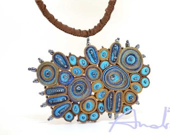 Statement necklace turquoise, fiber pendant -  Textile Jewelry ooak ready to ship