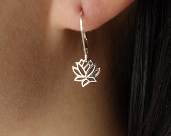 Lotus Earrings in Sterling Silver GIFT lotus charm Mother's Day Gifts bridesmaid gift bridal shower wedding gift for her wedding jewelry