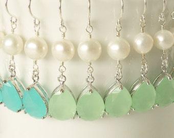 Pearl Blue Teardrop CZ Earring Bridesmaid Gift Set Wedding Jewelry Bridal earrings Pearl Necklace Silver Wedding Bridesmaid Necklace Earring