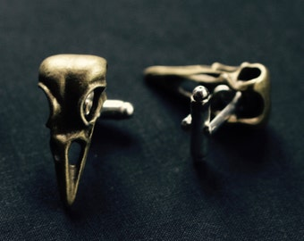 Bird skull Cuff links in brass or silver