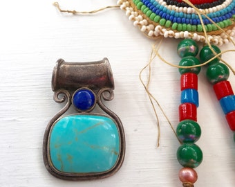 Vintage Thailand Sterling Turquoise Lapis Pendant Charm