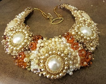 "Bead embtoidered necklace- ""Celebrate Sunshine"""