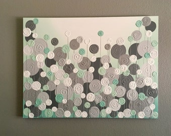 Mint Green and Grey Textured Painting, Abstract Flowers, Large Acrylic Painting on Canvas, select a size