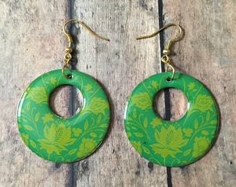 Gorgeous green floral dangle earrings