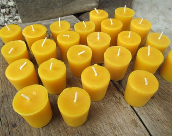 "Beeswax Candles-  Set of 100 votives, 2"" tall"