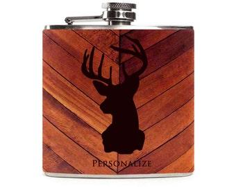 Personalized Wood Flask, Deer Head Wooden , Groomsmen, Hunting Gifts for Men, Stainless Steel 6oz Hip Flask
