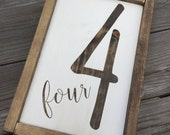 Four, Number Sign, Painted, Gallery Wall, Family Number, Lucky Number Sign