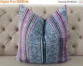 "5 DAY SALE Vintage 22""By22, Cushion covers Indigo batik Hmong Pillow case, Handwoven Hemp Fabric,"