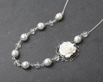 White bridal necklace, Bridesmaid necklace, Bridal pearl and crystal necklace, bridesmaid gift, white wedding necklace, Rustic wedding