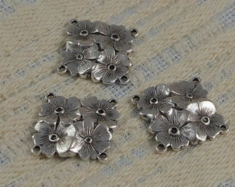 LuxeOrnaments Sterling Silver Plated Brass Filigree Floral 4 Loop Square Connector (Qty 1) 17x17mm F-7479-4r-S