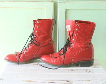 Vintage JUSTIN Boots...size 7 womens...red leather boots. goth. indie. leather boots. designer. tassles. urban. justins. vintage boots.