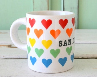 Vintage RAINBOW HEART San Diego Mug....coffee. tea. colorful. espresso. retro housewares. kitsch. california. gift. kitchen. drink. souvenir