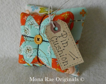 Pin Cushion ~ Original Design Pin Keeper ~ Mothers Day Gift ~ Quilter Gift ~ Sewing Gift ~ Orange and Blue
